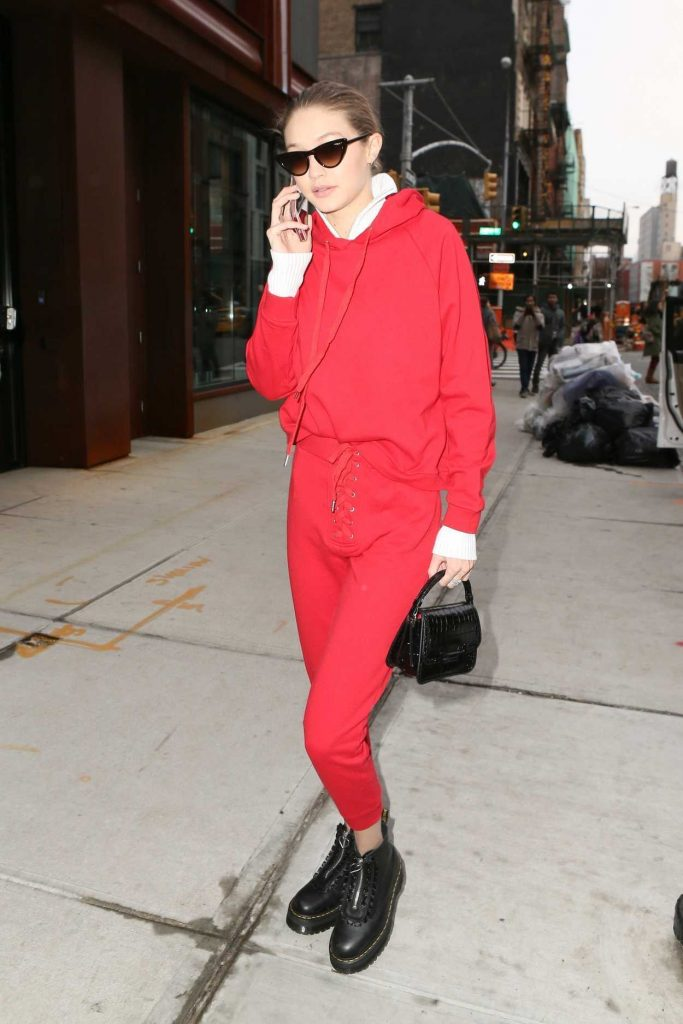 Gigi Hadid Wears All Red Out in NYC 01/30/2018-3