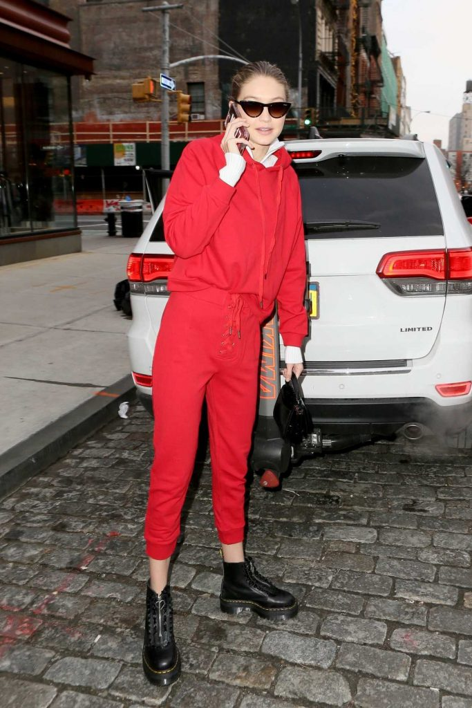 Gigi Hadid Wears All Red Out in NYC 01/30/2018-4