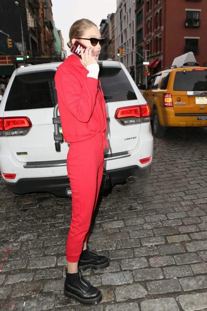 Gigi Hadid Wears All Red Out in NYC 01/30/2018-5