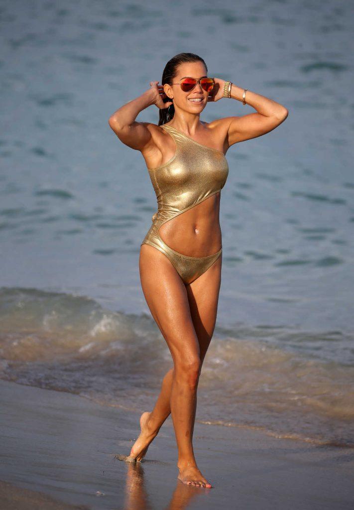 Sylvie Meis Wears a Gold Bikini at the Beach in Miami 01/01/2018-3