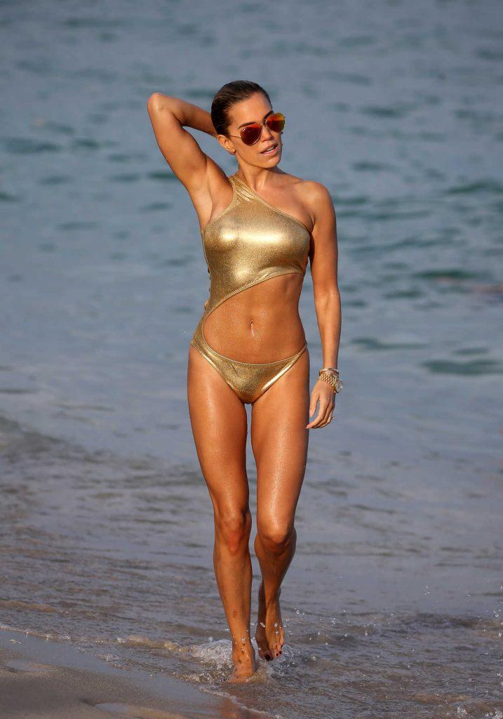 Sylvie Meis Wears a Gold Bikini at the Beach in Miami 01/01/2018-4