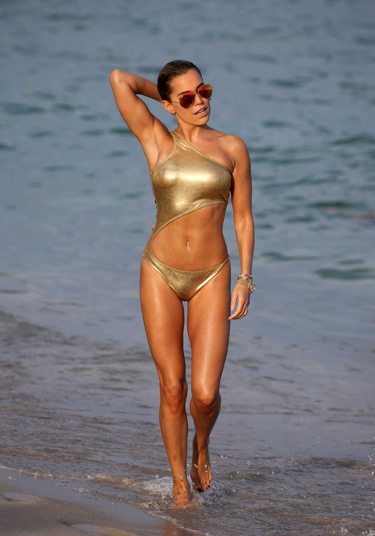 sylvie meis wears a gold bikini at the beach in miami 01 01 2018. Black Bedroom Furniture Sets. Home Design Ideas