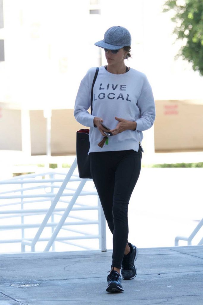 Alessandra Ambrosio Wears a Live Local Sweatshirt Out in Brentwood 02/24/2018-1