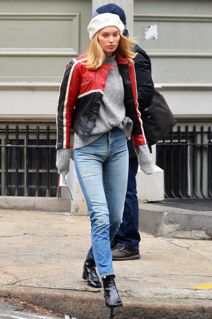Elsa Hosk Wears a Ripped Jeans and Black Boots Out in NYC 02/16/2018-1