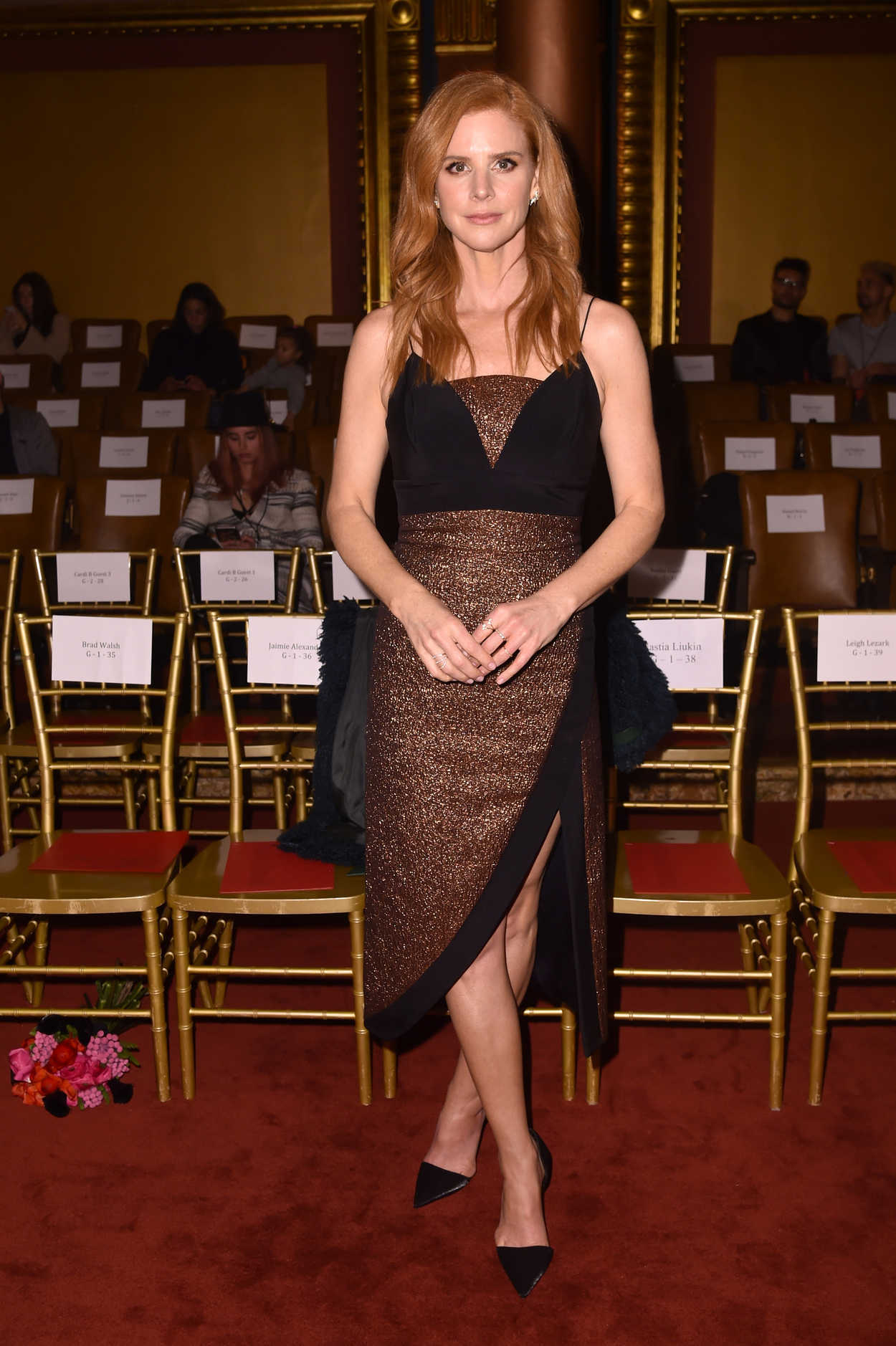 sarah rafferty at the christian siriano fashion show during new york fashion week in new york. Black Bedroom Furniture Sets. Home Design Ideas