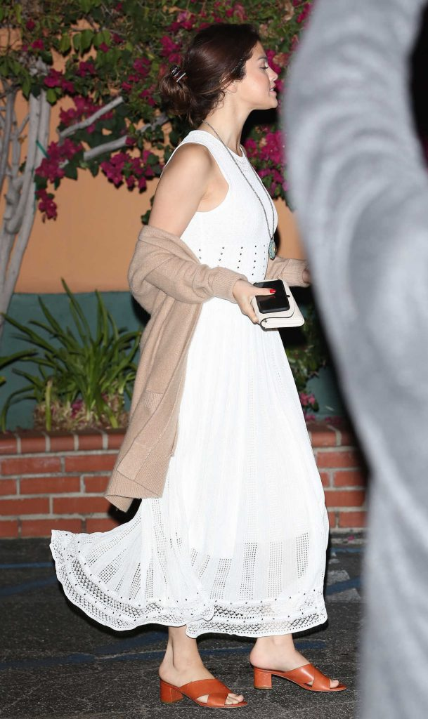 Selena Gomez Wears a White Dress Out in LA 02/09/2018-4