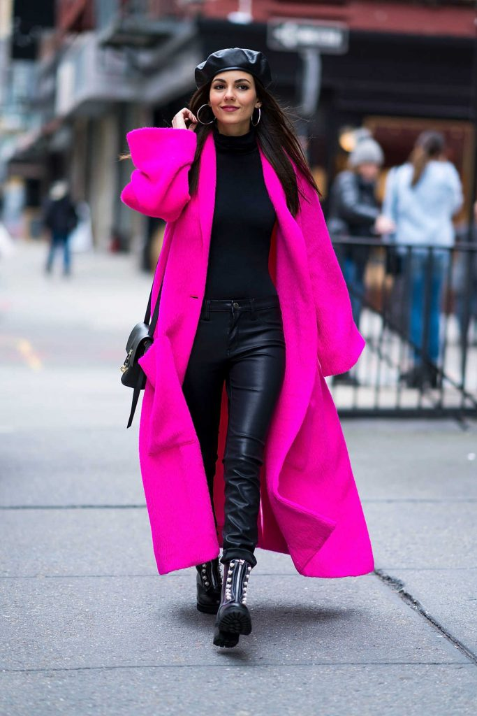 Victoria Justice Wears a Lilac Coat Out in NYC 02/12/2018-1