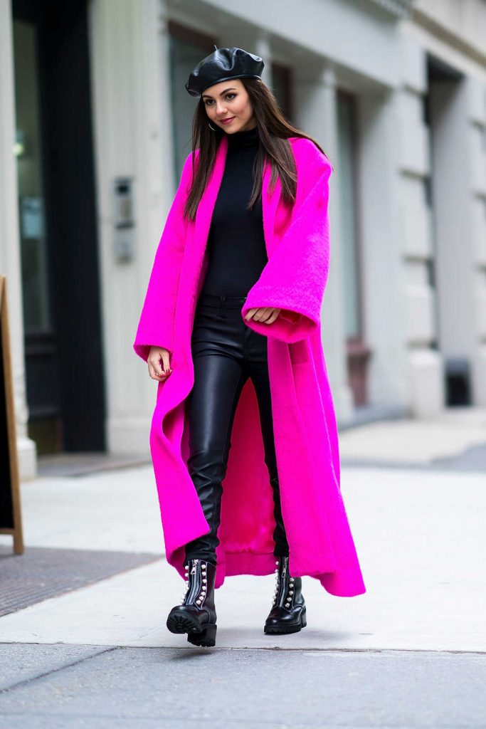Victoria Justice Wears a Lilac Coat Out in NYC 02/12/2018-2