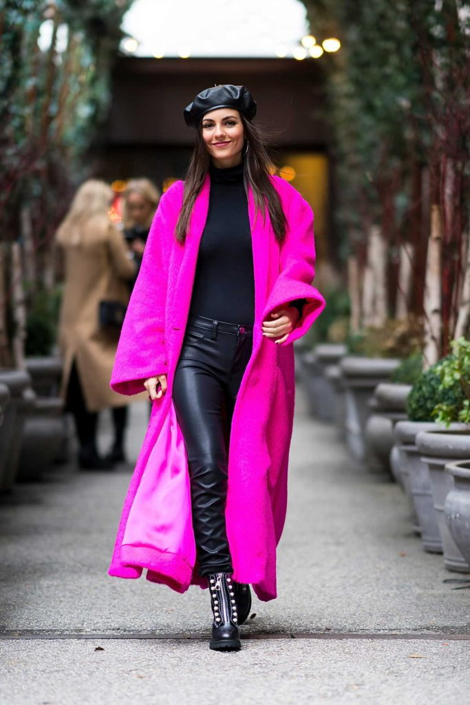 Victoria Justice Wears a Lilac Coat Out in NYC 02/12/2018-4