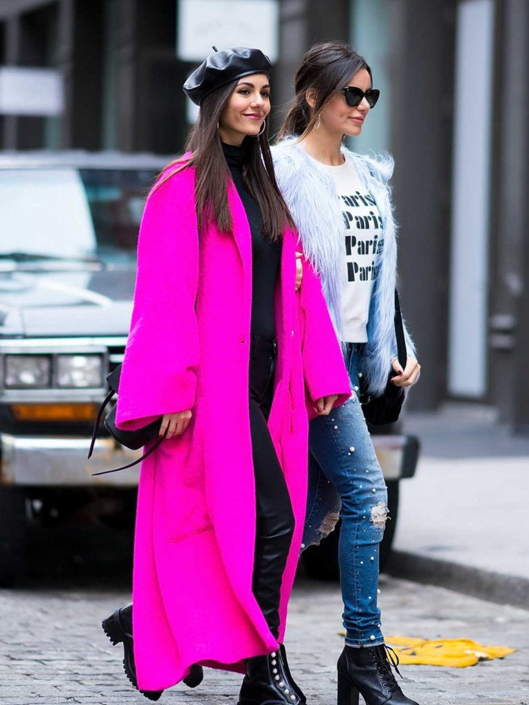 Victoria Justice Wears a Lilac Coat Out in NYC 02/12/2018-5