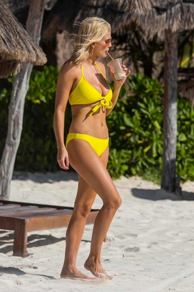 Ashley James Wears a Yellow Bikini on the Beach in Tulum, Mexico 03/30/2018-4