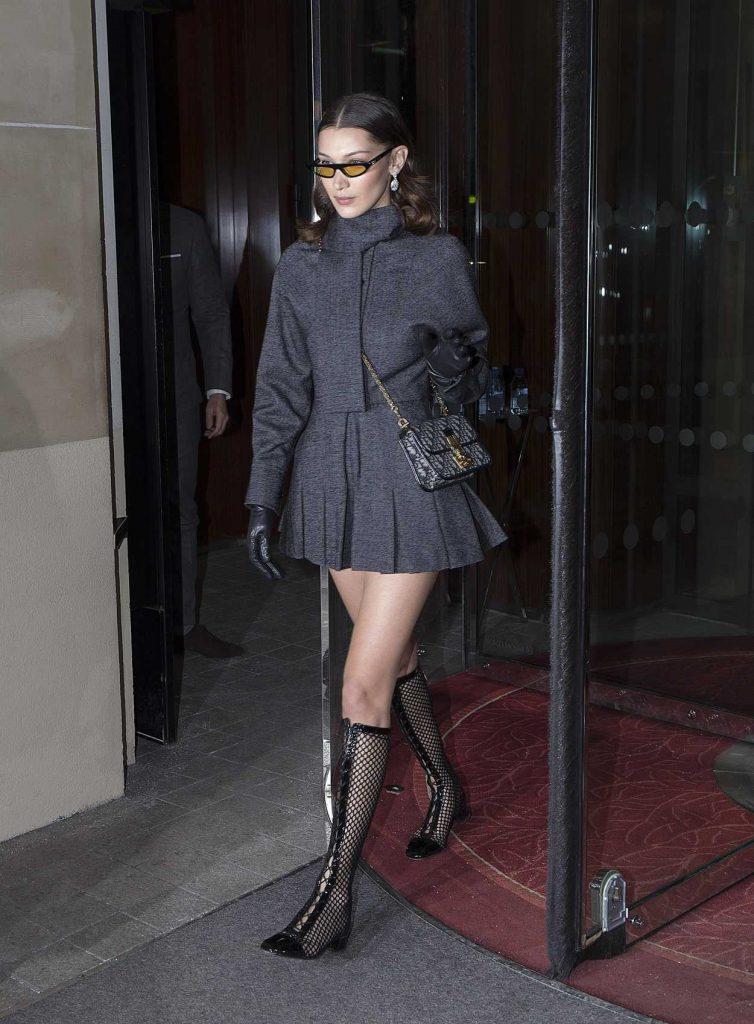 Bella Hadid Leaves the Royal Monceau Hotel in Paris 03/01/2018-1