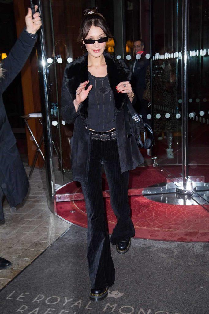 Bella Hadid Leaves the Royal Monceau Hotel in Paris 03/29/2018-1