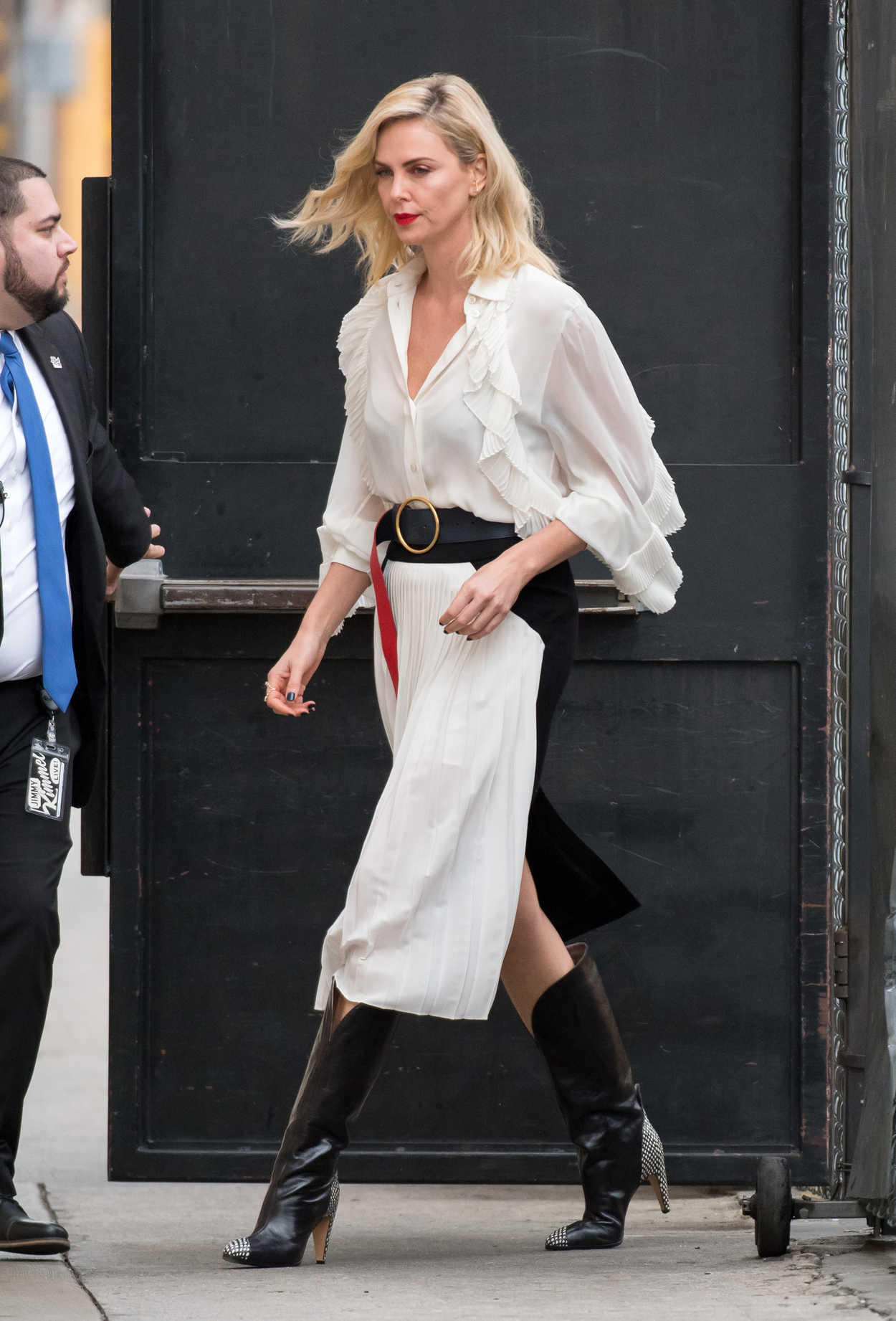 Charlize Theron Arrives On Jimmy Kimmel Live In Hollywood