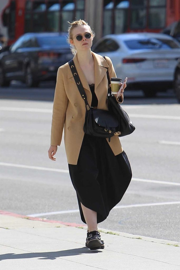 Elle Fanning Wears a Beige Jacket Out in Beverly Hills 03/20/2018-1