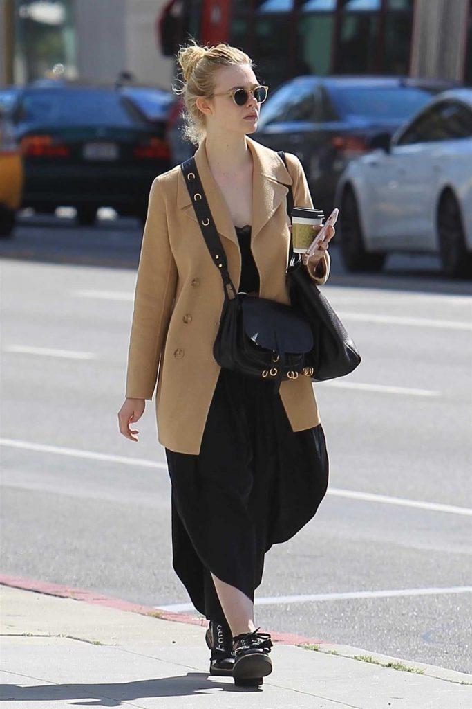 Elle Fanning Wears a Beige Jacket Out in Beverly Hills 03/20/2018-4