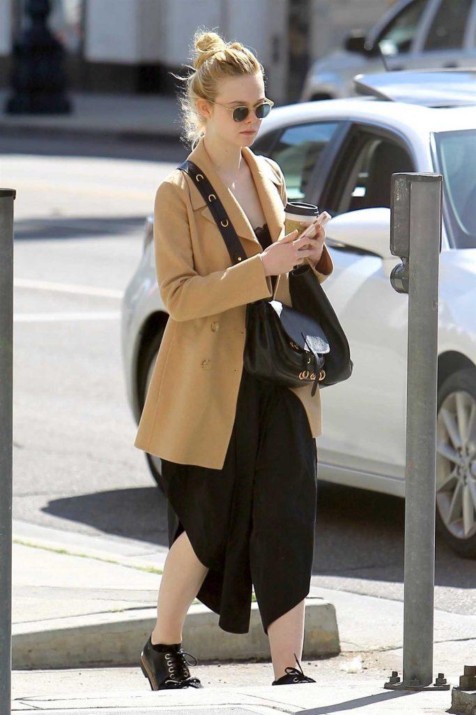 Elle Fanning Wears a Beige Jacket Out in Beverly Hills 03/20/2018-5