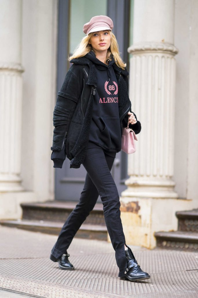 Elsa Hosk Wears the Balenciaga Hoody Out in SoHo, NYC 03/16/2018-1
