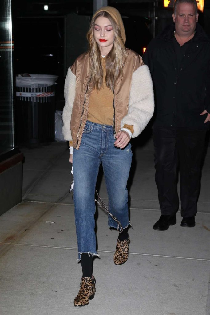 Gigi Hadid Wears a Bomber Jacket Out in NYC 03/19/2018-3