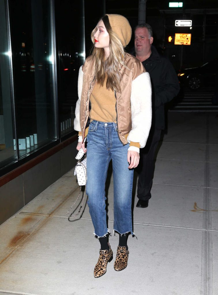 Gigi Hadid Wears a Bomber Jacket Out in NYC 03/19/2018-4