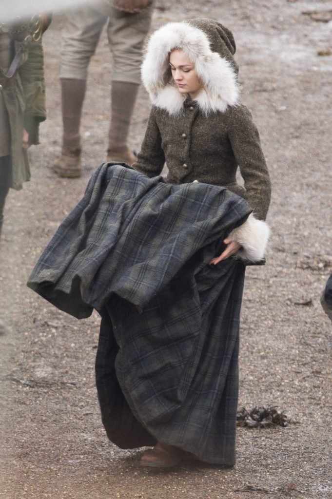 Sophie Skelton on the Set of Outlander Season 4 in Dunure, Scotland 03/06/2018-1