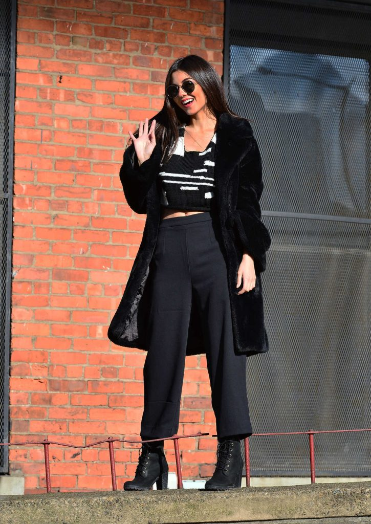 Victoria Justice Wears a Black Fur Coat in Dumbo, Brooklyn in NYC 03/20/2018-1