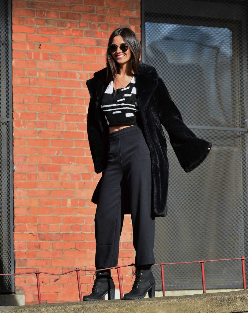 Victoria Justice Wears a Black Fur Coat in Dumbo, Brooklyn in NYC 03/20/2018-3