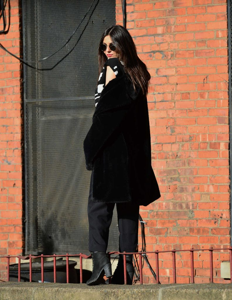 Victoria Justice Wears a Black Fur Coat in Dumbo, Brooklyn in NYC 03/20/2018-5