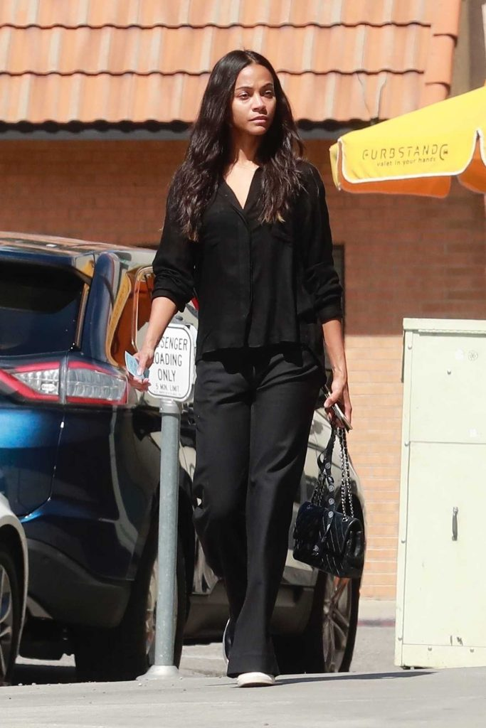 Zoe Saldana Arrives at Granville Restaurant in Studio City 03/19/2018-2