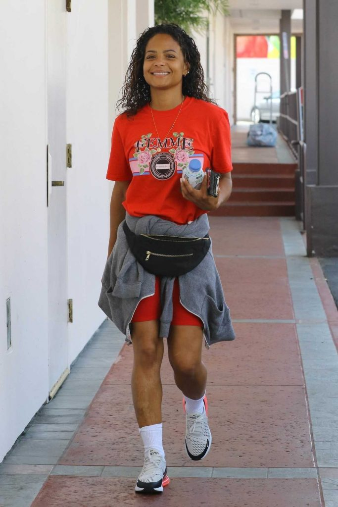 Christina Milian Wears a Red T-Shirt Out in Studio City 04/03/2018-1
