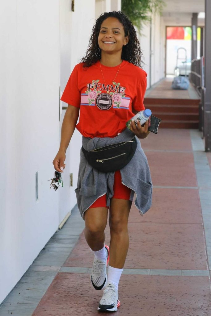 Christina Milian Wears a Red T-Shirt Out in Studio City 04/03/2018-2