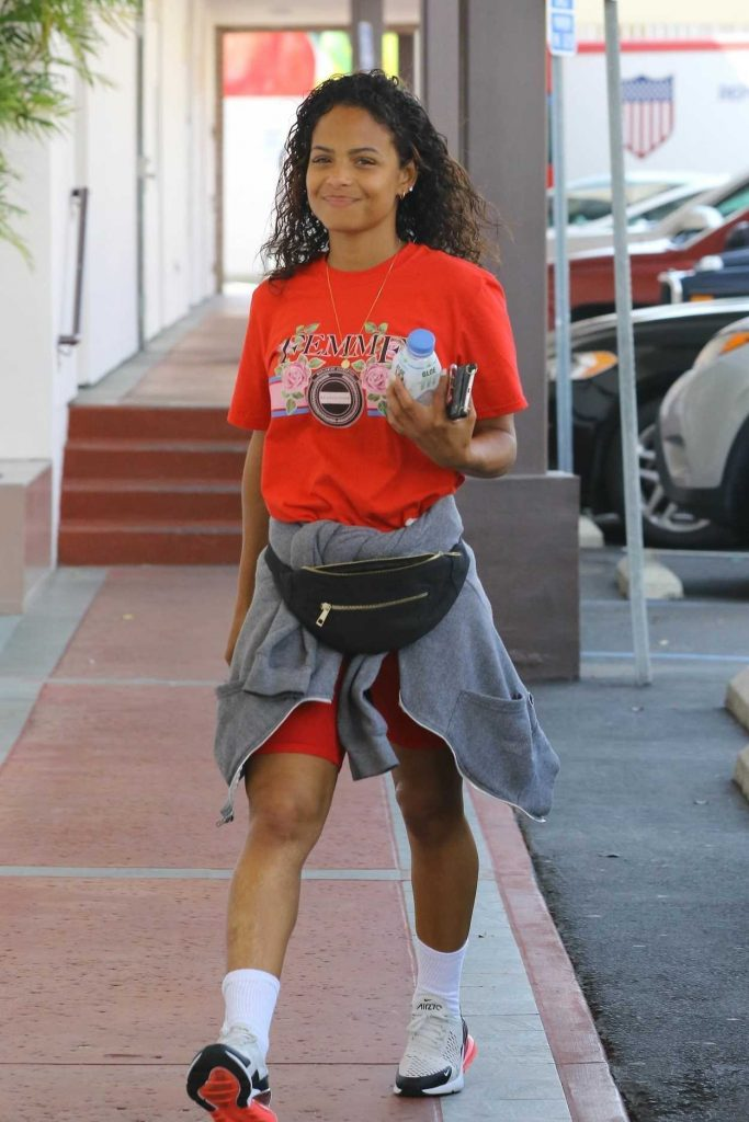 Christina Milian Wears a Red T-Shirt Out in Studio City 04/03/2018-4