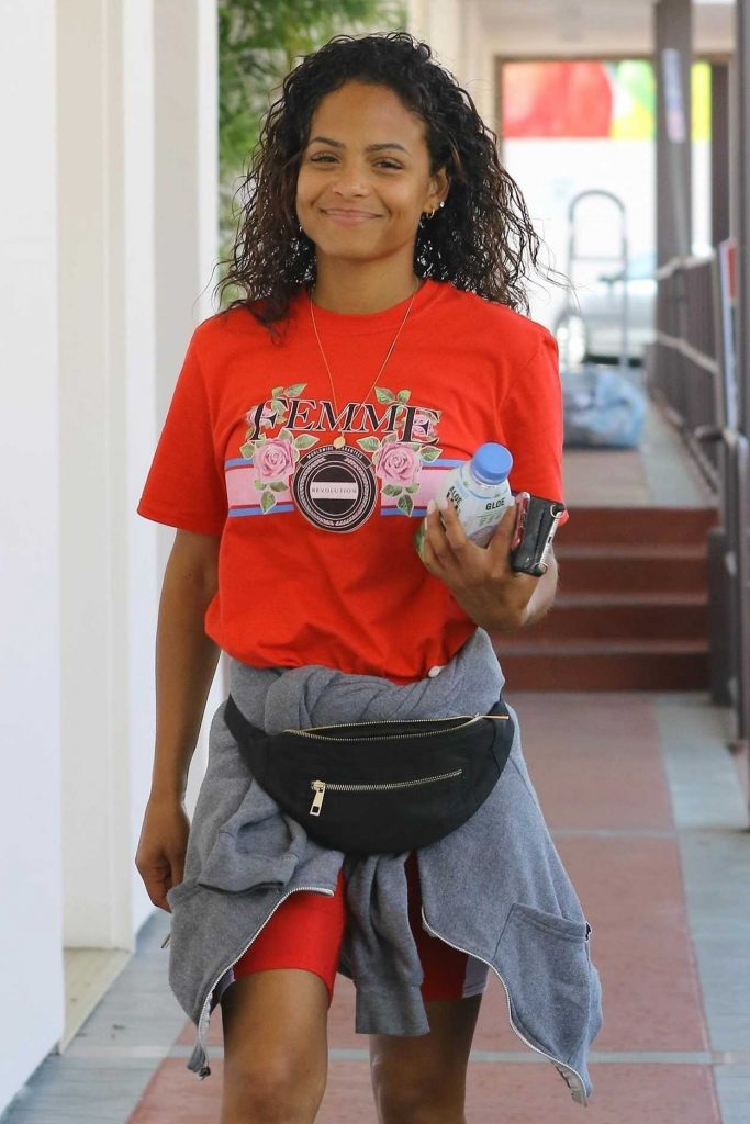 Christina Milian Wears a Red T-Shirt Out in Studio City 04/03/2018-5