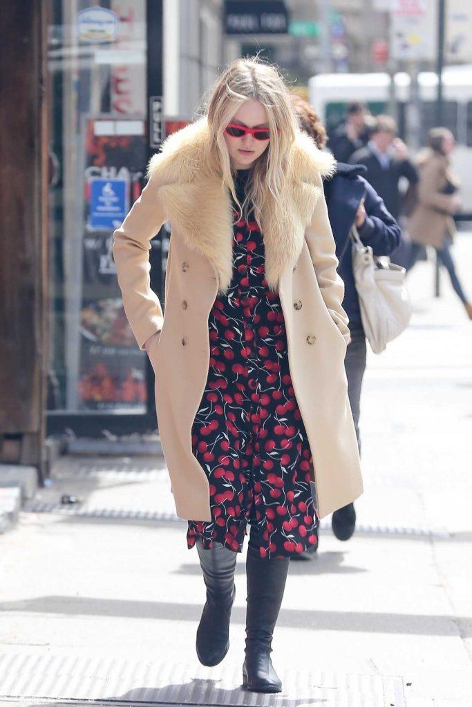 Dakota Fanning Wears Cherry Print Dress Out in NYC 04/09/2018-1