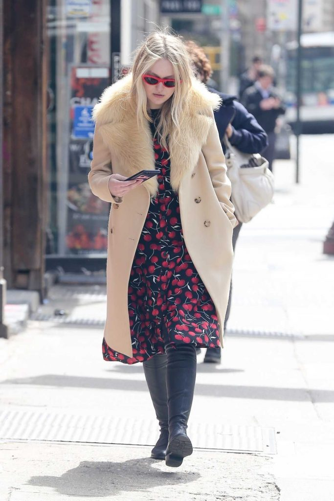 Dakota fanning wears cherry print dress out in nyc 04 09 for 24 hour salon nyc