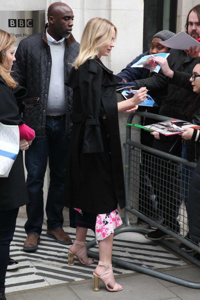 Emily Blunt Leaves BBC Studios in London 04/06/2018-2
