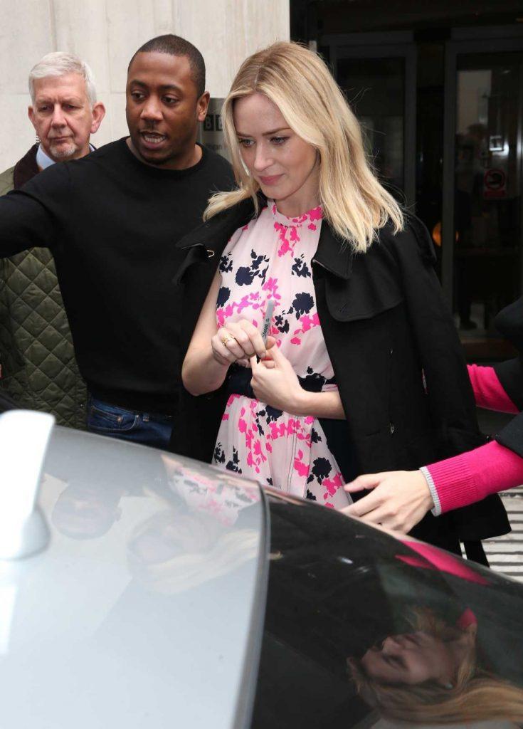 Emily Blunt Leaves BBC Studios in London 04/06/2018-5