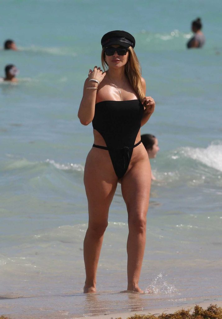 Larsa Pippen Wears a Black High Cut Swimsuit on the Beach in Miami 03/31/2018-1