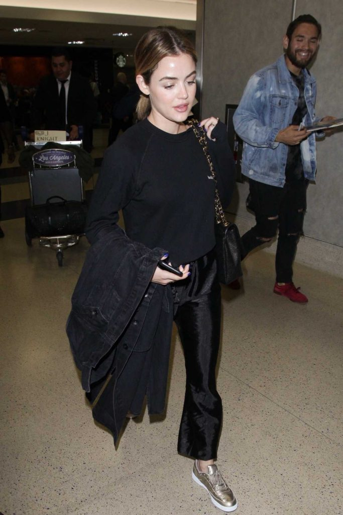 Lucy Hale Wears a Bullshit Sweater at LAX Airport in Los Angeles 04/24/2018-2