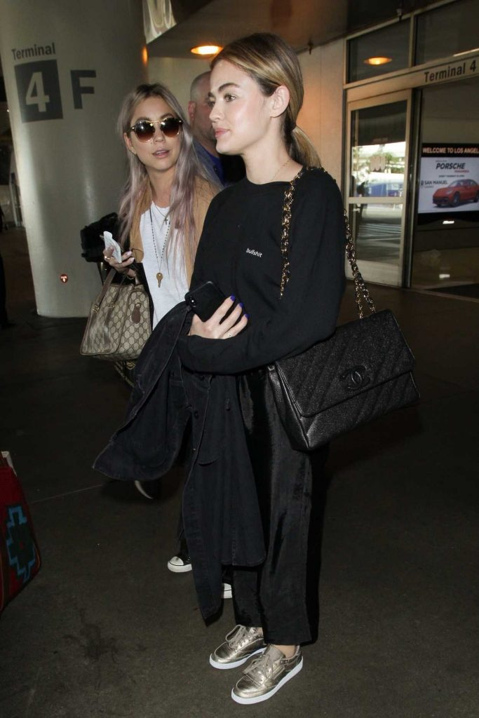 Lucy Hale Wears a Bullshit Sweater at LAX Airport in Los Angeles 04/24/2018-4