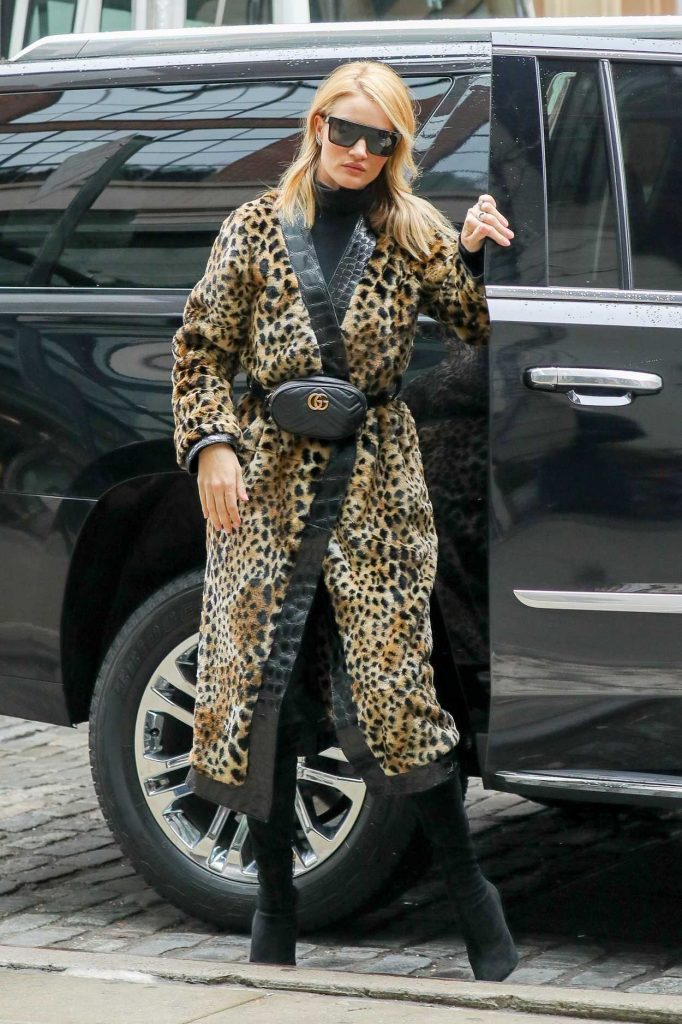 Rosie Huntington-Whiteley Wears a Fur Coat Out in New York City 03/30/2018-1