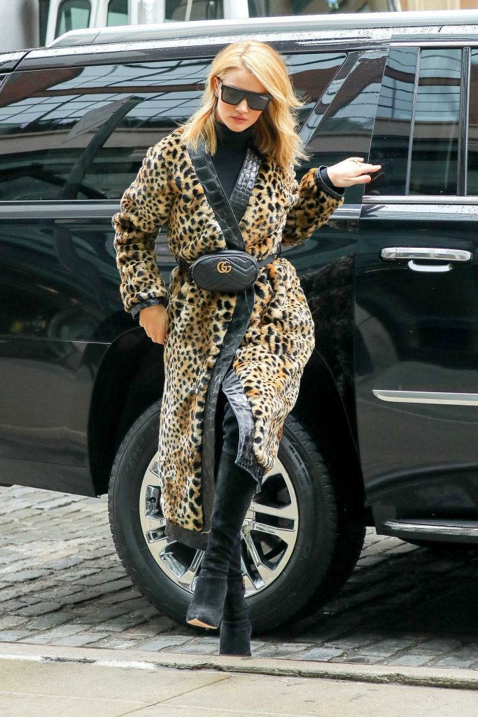Rosie Huntington-Whiteley Wears a Fur Coat Out in New York City 03/30/2018-2