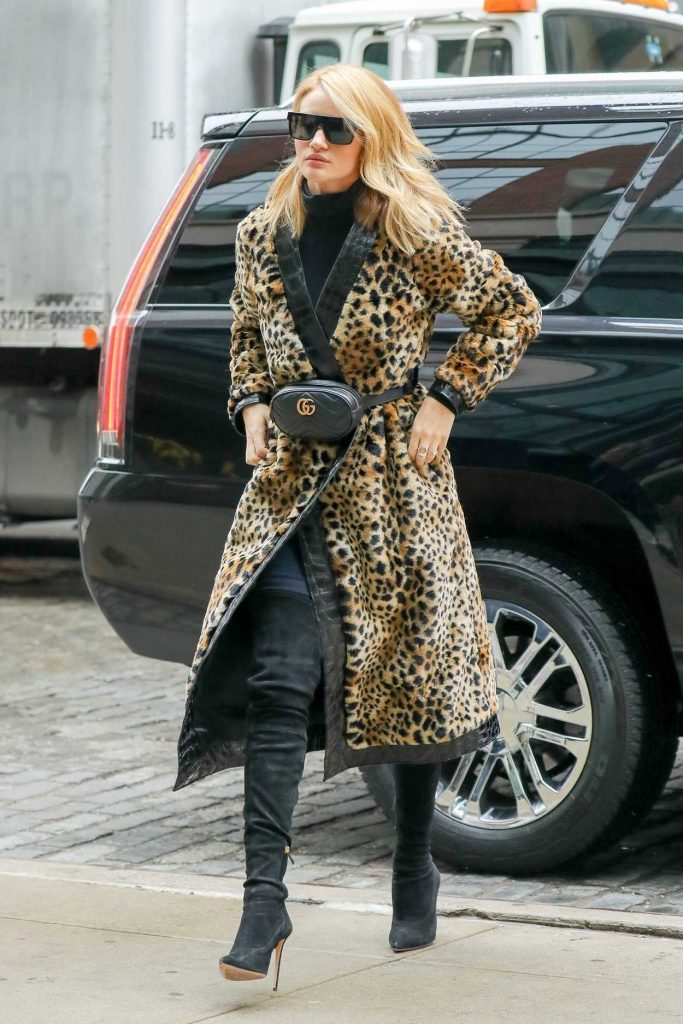 Rosie Huntington-Whiteley Wears a Fur Coat Out in New York City 03/30/2018-3