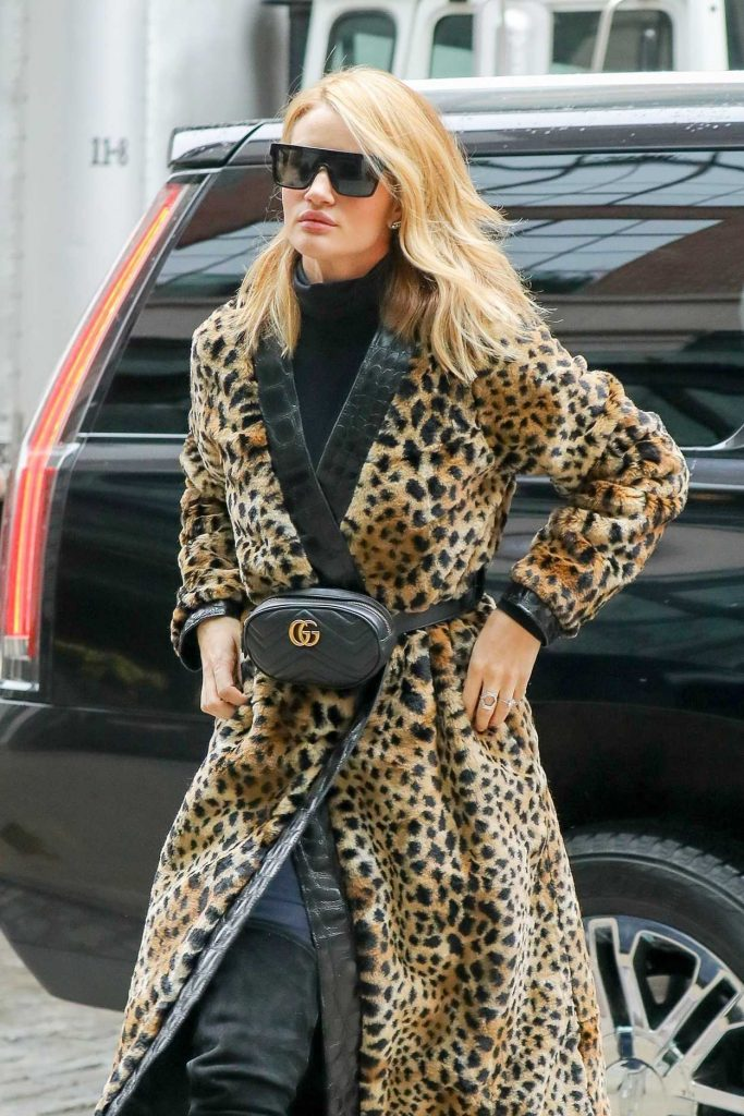 Rosie Huntington-Whiteley Wears a Fur Coat Out in New York City 03/30/2018-5