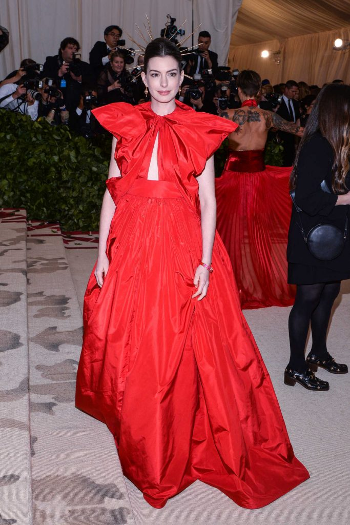 Anne Hathaway at the Heavenly Bodies: Fashion and The Catholic Imagination Costume Institute Gala in New York City 05/07/2018-1