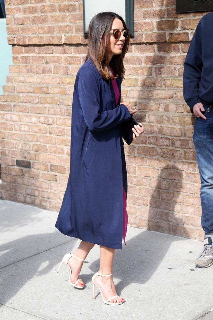 Aubrey Plaza Wears a Pink Dress Out in New York City 05/10/2018-4