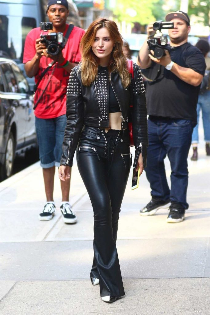 Bella Thorne Wears Black Leather Out in New York City 05/23/2018-1