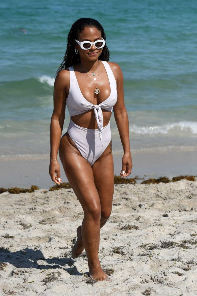 Christina Milian Wears a White Bikini on the Beach in Miami 04/29/2018-2