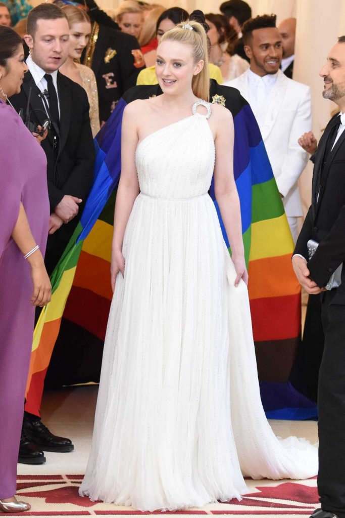 Dakota Fanning at the Heavenly Bodies: Fashion and The Catholic Imagination Costume Institute Gala in New York City 05/07/2018-1
