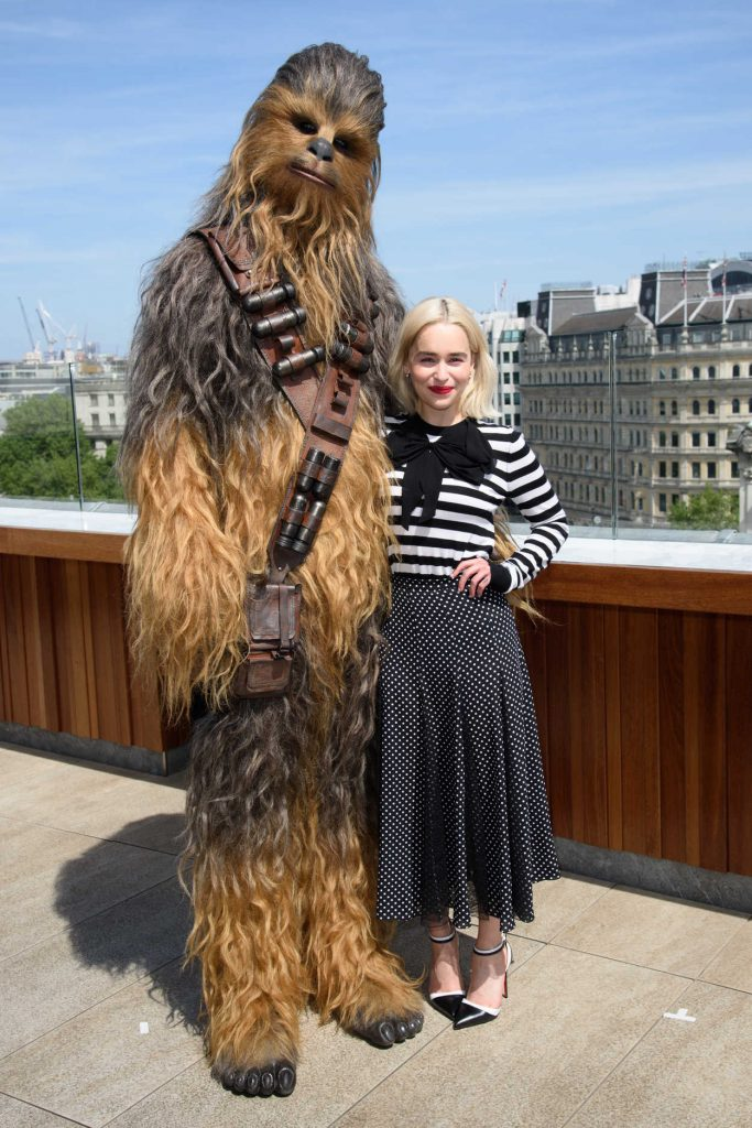 Emilia Clarke at the Solo: A Star Wars Story Photocall at the Trafalgar Hotel in London 05/18/2018-3
